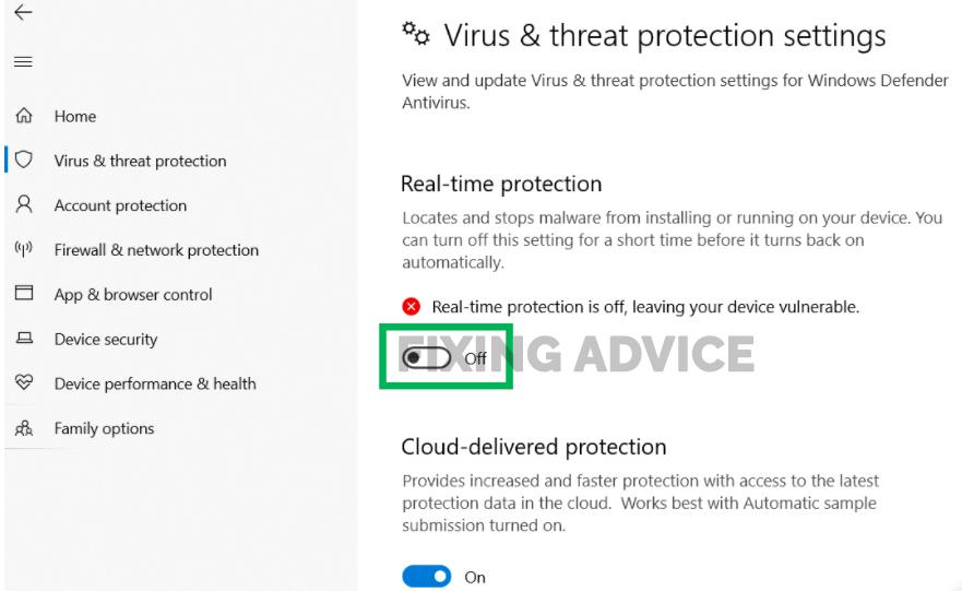 Disable third-party antivirus