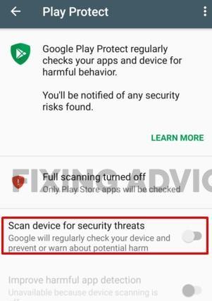 Disabling Google Play Protect