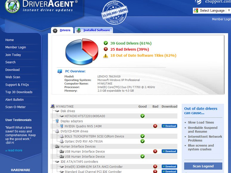 download the Driver Agent software from its official or other sites