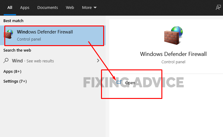 Check Windows Firewall Settings