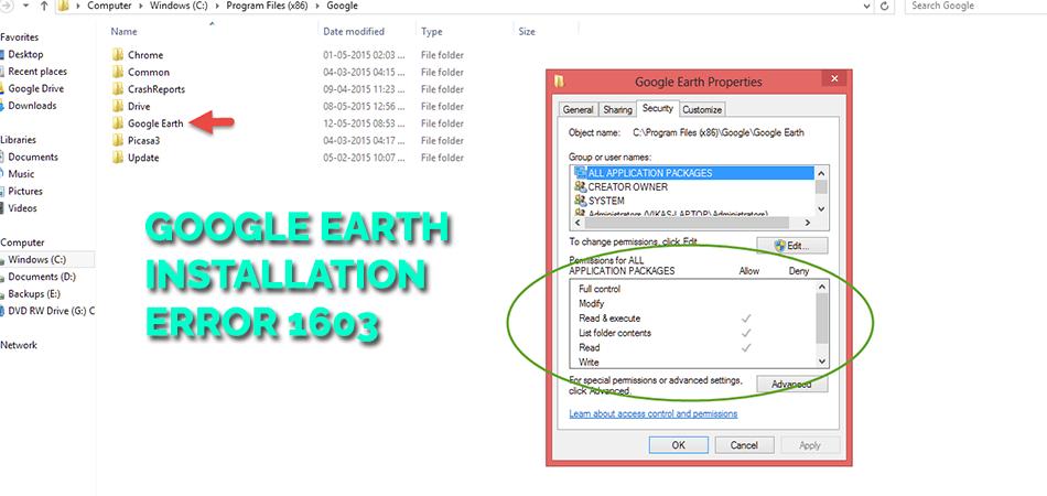 Google Earth Installation Error 1603