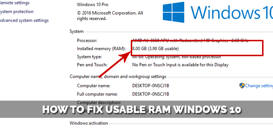 How to Fix Usable RAM Windows 10