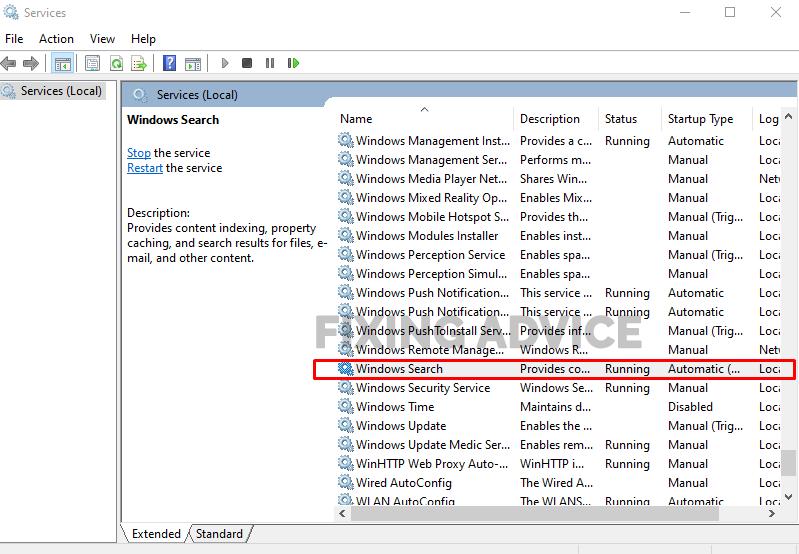 Method 5- Repair Windows Search Service