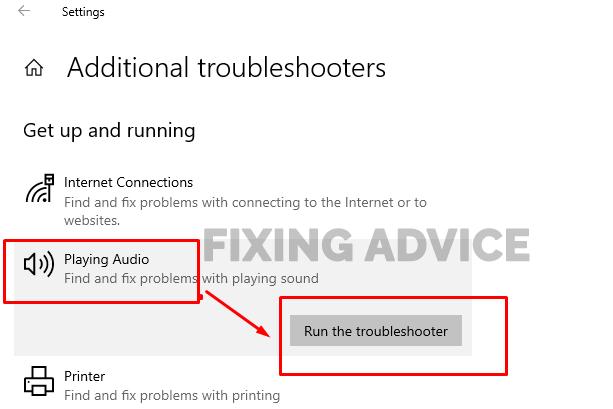 Run Audio Troubleshooters