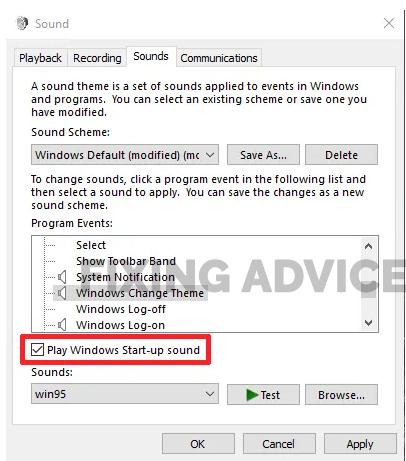 Change The Default Startup Sound For Windows 10