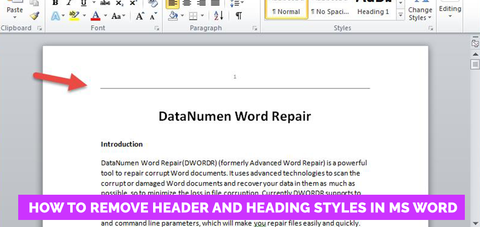 How to Remove Header and Heading Styles in MS Word