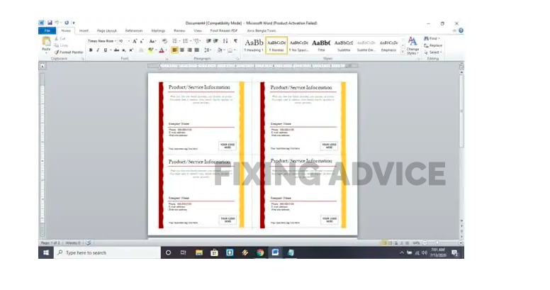 How To Make 4 Postcards On One Page In Word?