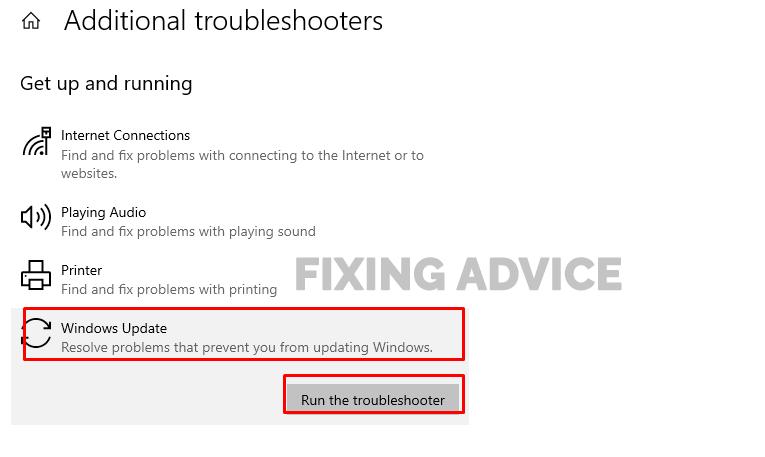 Run Window update Troubleshooter