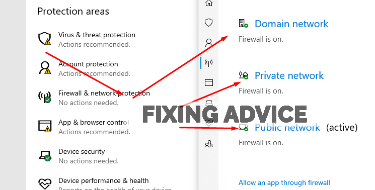 Under firewall and network options. Switch off the three options to Configure Firewall