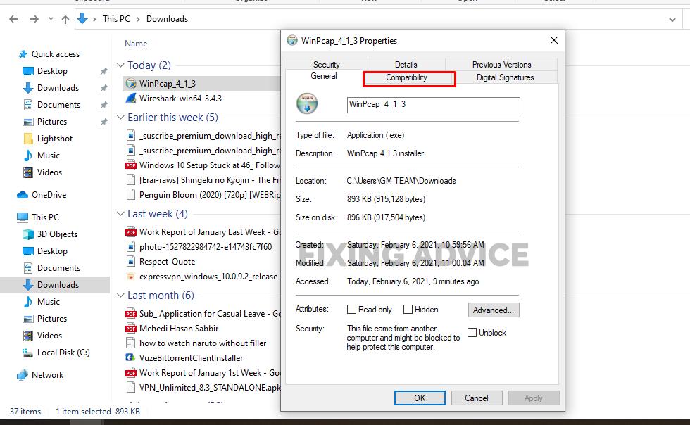 go to Compatibility mode for Winpcap Setup