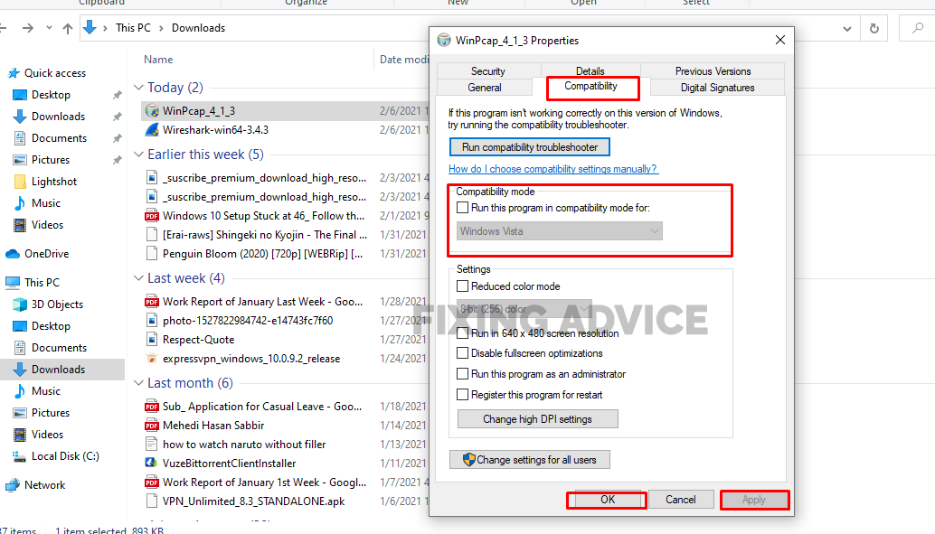 Check the Run this program in compatibility mode for windows 10 for Winpcap Setup