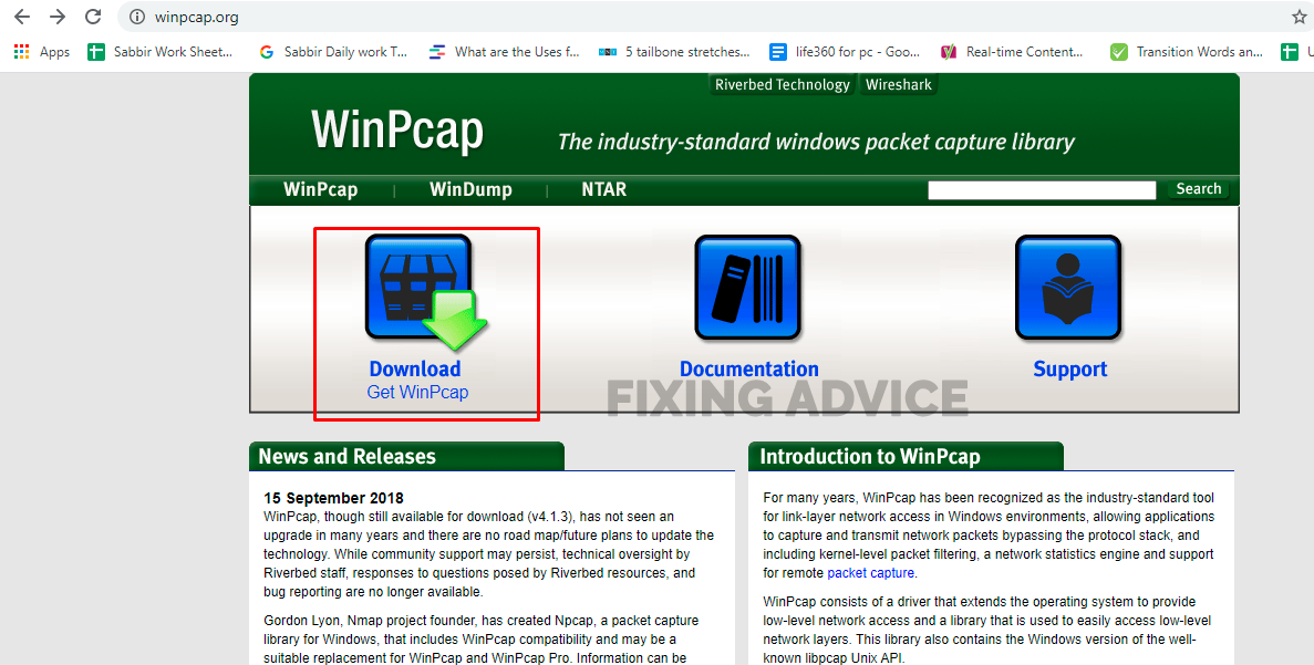download and install Winpcap Setup