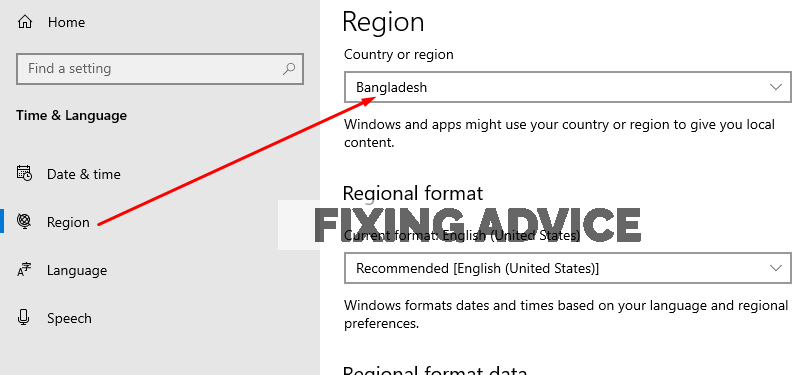 press on the Region option and set the location where you stay
