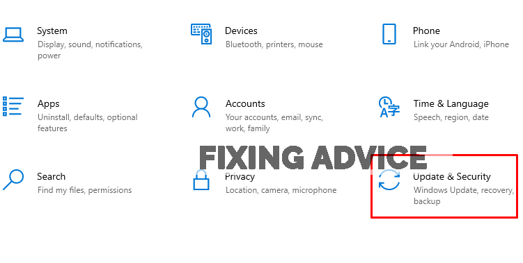 Navigate to the Windows Setting and then select Security & Update below.