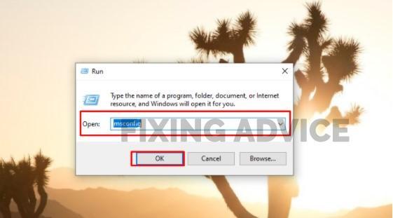 """""""Run"""" box, type """"msconfig"""""""