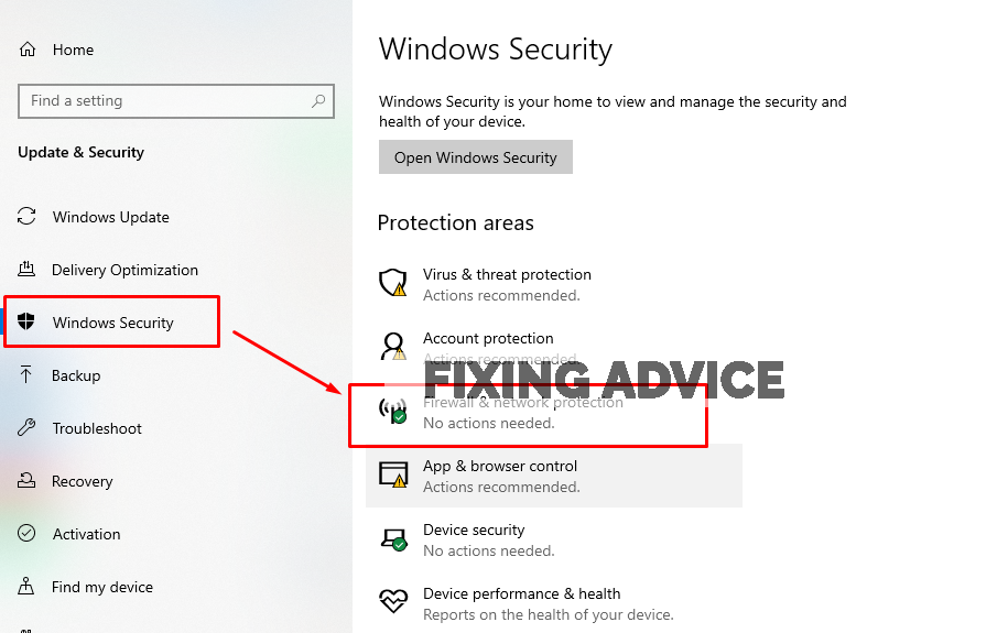 Tap on the Windows Security and click on the Firewall & Network Protection