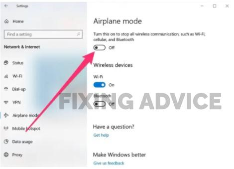 Turn Airplane Mode on and Off