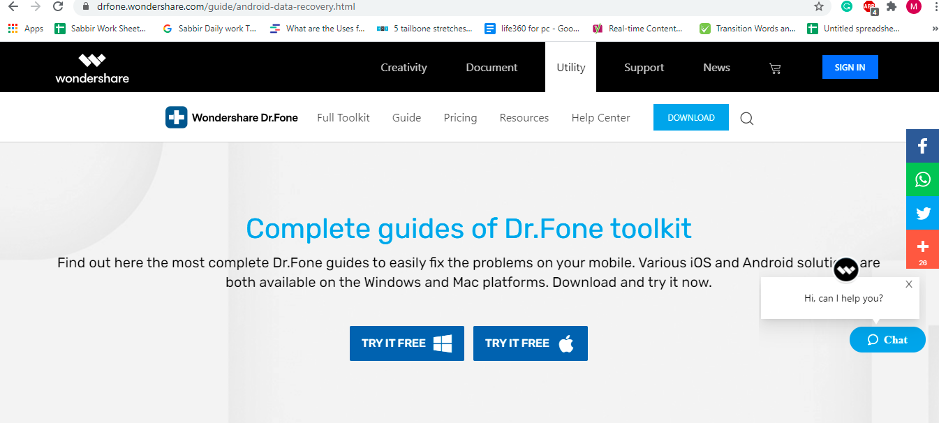 download dr fone app to recover video though computer
