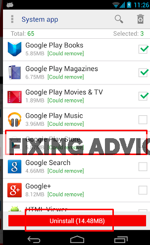 """select Google Play service. Now press on the """"Uninstall"""" option."""