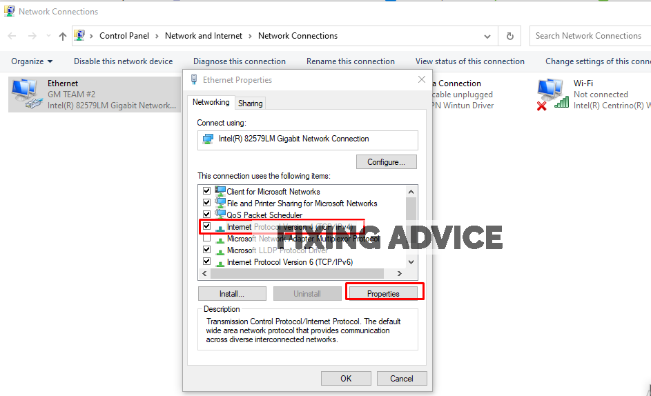 select Internet Protocol Version 4 and click on the Properties