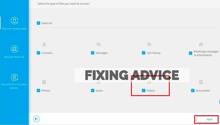 "select Videos folder and press ""Next"