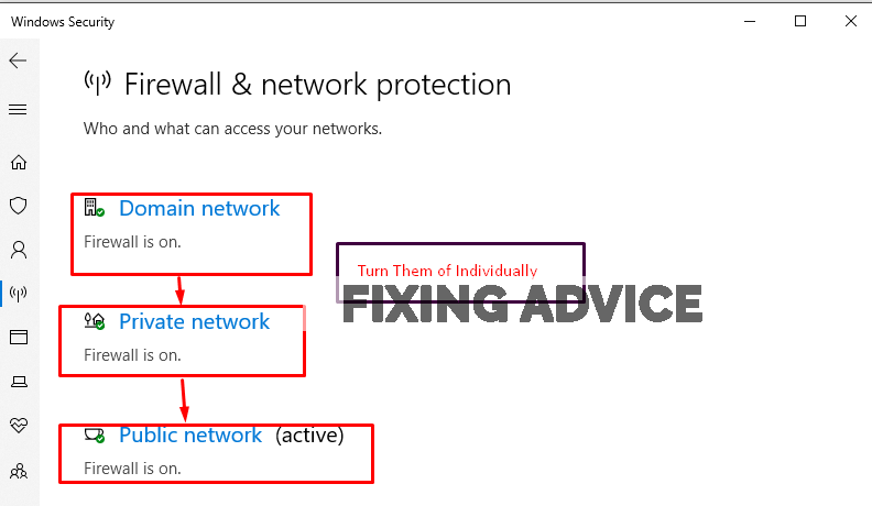 turn off the following firewall networks