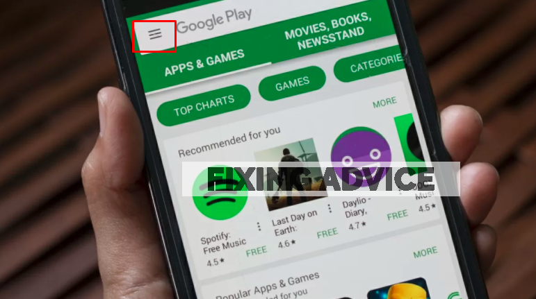 """Press on the """"Three-Lines"""" icon on play store to update facebook"""