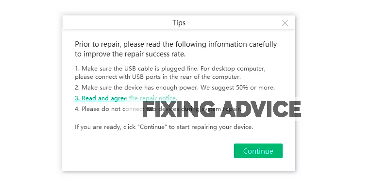 To start the repairing process, click on the Repair Now