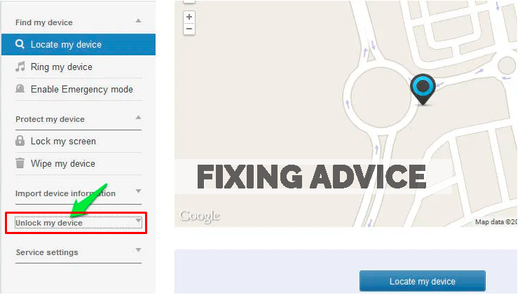 Unlock Android device using Find my Phone