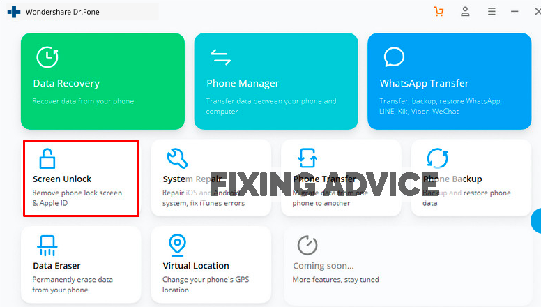 go to screen unlock option of Dr. Fone Recovery Tool to unlock phone