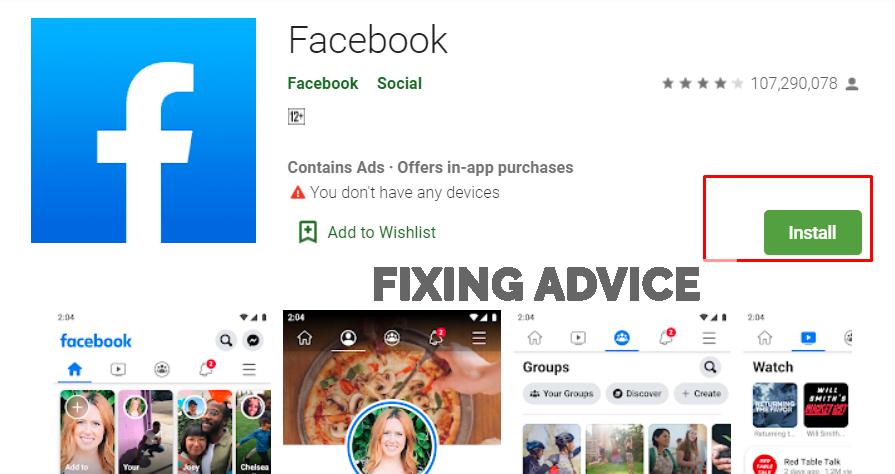 uninstall and install facebook to fix Unfortunately Facebook Has Stopped